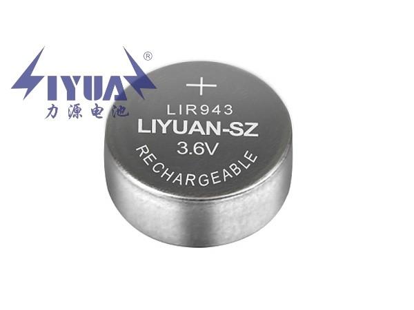 3.6V锂离子可充电纽扣电池LIR943